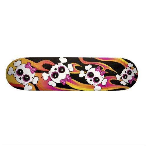 Cute Flaming Skulls 21.3 Cm Mini Skateboard Deck