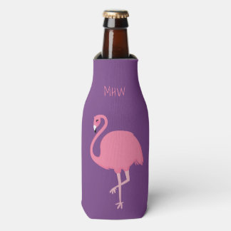 Cute Flamingo custom monogram bottle cooler