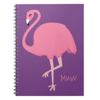 Cute Flamingo custom monogram notebook