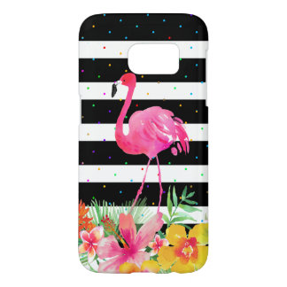 Cute Flamingo Tropical Flowers & Black Stripes