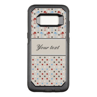 Cute Flamingos and Polka Dots OtterBox Commuter Samsung Galaxy S8 Case