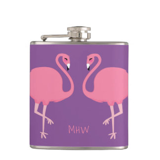 Cute Flamingos custom monogram flask