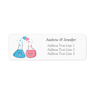 Cute flasks in love, we've got chemistry return address label