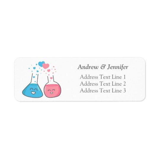Cute flasks in love, we've got chemistry return address label
