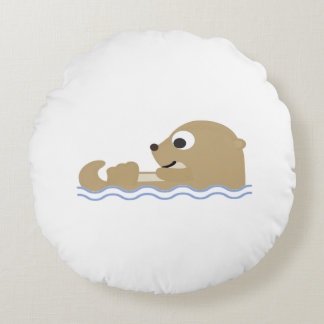 Cute Floating Otter Round Cushion