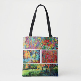 cute floral and landscape tote bag