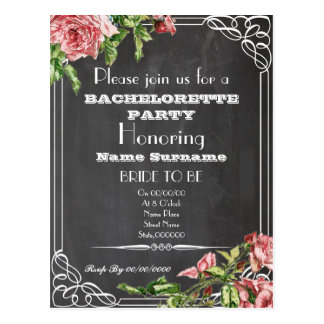 cute floral bachelorette party invitation postcard