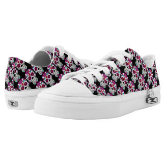Cute floral candy skull printed shoes