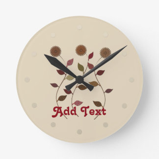 Cute Floral Cream Add Text Clock