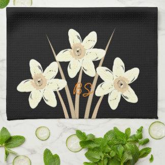 Cute Floral Daffodils Add Initials Towel