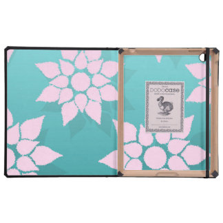 Cute Floral Design in Pale Pink over Teal iPad Cover