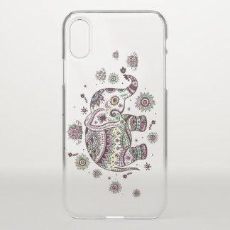 Cute Floral Elephant Illustration iPhone X Case