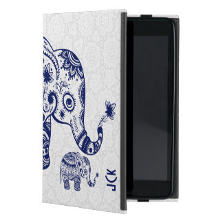 Cute Floral Elephant In Navy Blue iPad Mini Case