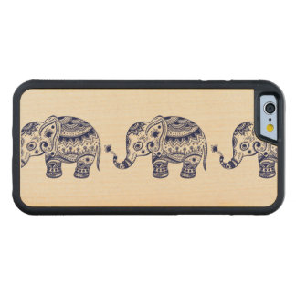 Cute Floral Ethnic Elephant Blue Carved Maple iPhone 6 Bumper Case