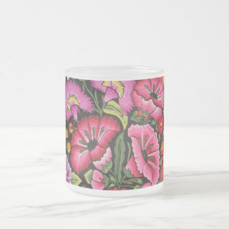 Cute floral,flowers frosted glass mug