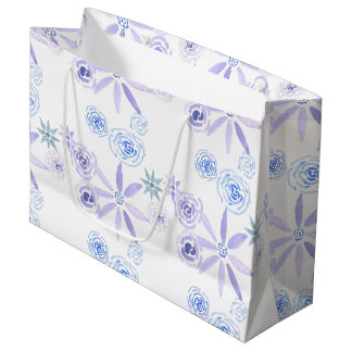 Cute floral gift bag in purple and blue