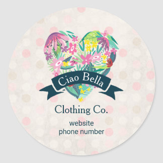 Cute Floral Heart on Pink Circles Business Round Sticker