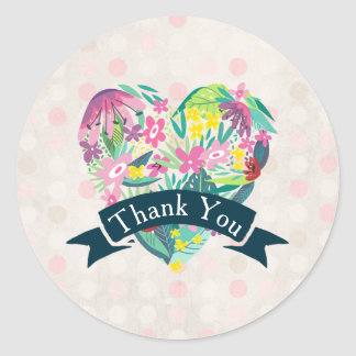 Cute Floral Heart with Tropical Flowers Thank You Classic Round Sticker