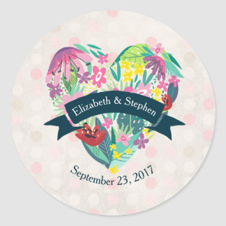 Cute Floral Heart with Tropical Flowers Wedding Classic Round Sticker