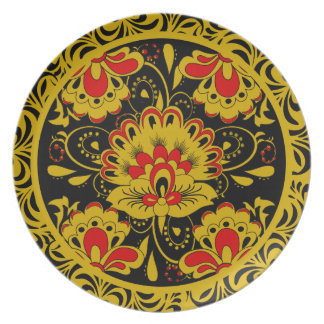 cute floral khokhloma style party plates