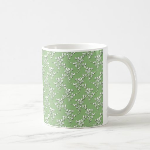 Cute Floral Pattern in White over Green Mugs
