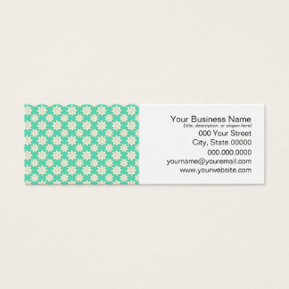 Cute Floral Pattern White Flowers over Minty Green Mini Business Card