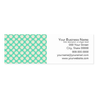 Cute Floral Pattern White Flowers over Minty Green Pack Of Skinny Business Cards