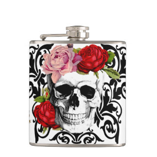 cute floral skull flask