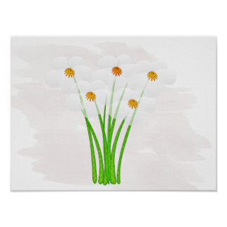 Cute Floral White Anemones Wedding Baby Nursery Poster