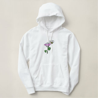 Cute Flower and Happy Bee Tote Embroidered Hoodie