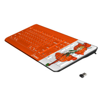 Cute Flower Child Orange Scarlet Poppy Emma Wireless Keyboard