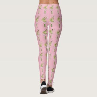 Cute Flower Children Pink Briar Rose Girl Funny Leggings