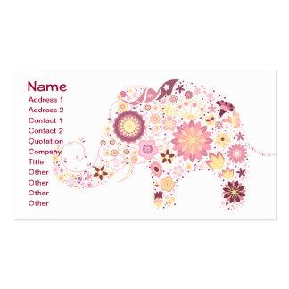 Cute Flower Elephant Floral Animal Vector Business Card Templates