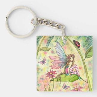 Cute Flower Fairy and Ladybug Fantasy Art Key Ring