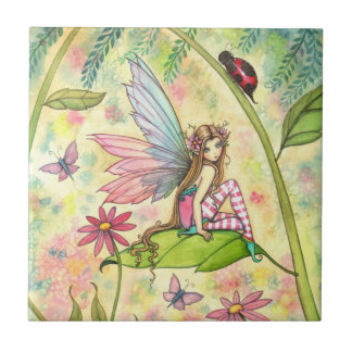 Cute Flower Fairy and Ladybug Fantasy Art Tile