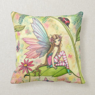 Cute Flower Fairy and Ladybug in Garden Cushion