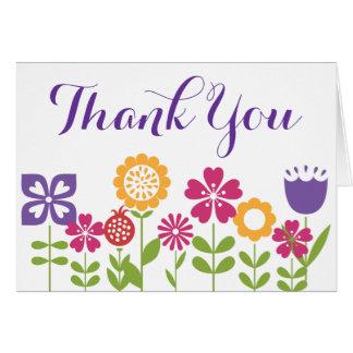 Cute Flower Garden Blank Thank You Cards