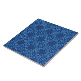 Cute Flower Medallion Pattern In Blue Ceramic Tiles