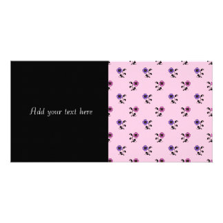 Cute Flower Pattern on Pale Pink Photo Card