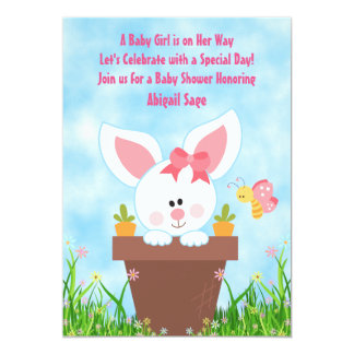 Cute Flower Pot Girl Bunny Baby Shower Invitations