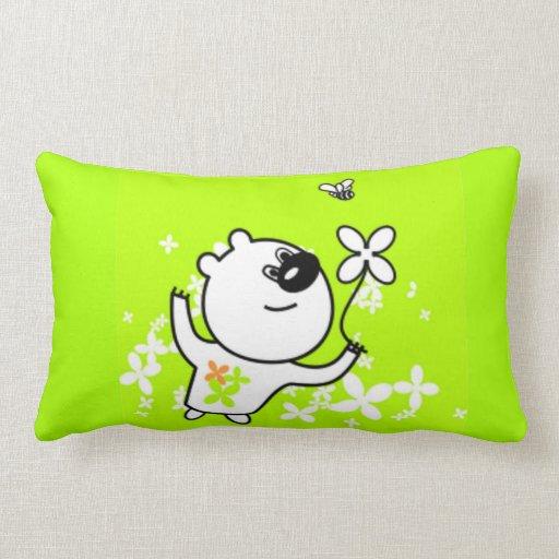 Cute Flower Teddy Bear on Lime Green Throw Pillows