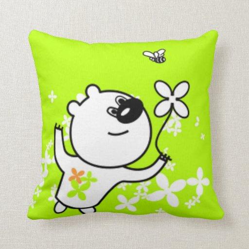 Cute Flower Teddy Bear on Lime Green Pillows
