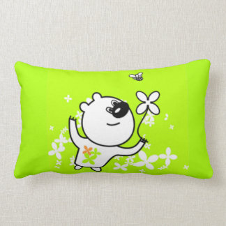 Cute Flower Teddy Bear on Lime Green Cushions