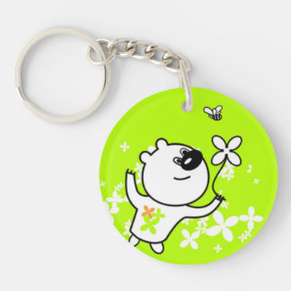 Cute Flower Teddy Bear On Lime Green Acrylic Key Chain