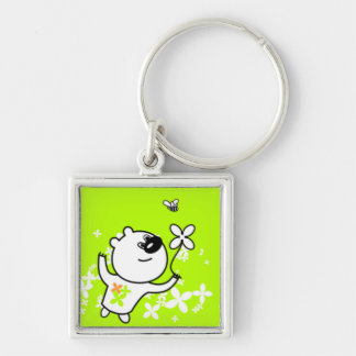 Cute Flower Teddy Bear On Lime Green Silver-Colored Square Key Ring