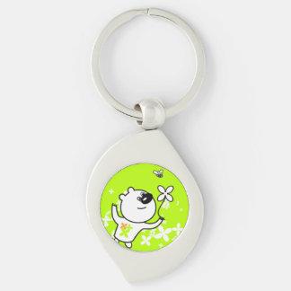 Cute Flower Teddy Bear On Lime Green Silver-Colored Swirl Key Ring