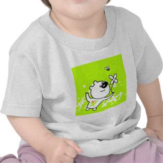 Cute Flower Teddy Bear on Lime Green Shirt