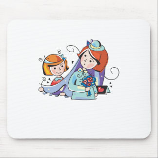 Cute Flowergirl and Bride design Mousepads