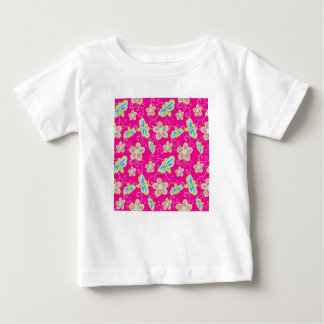 Cute flowers, dragonflies and swirls on pink baby T-Shirt
