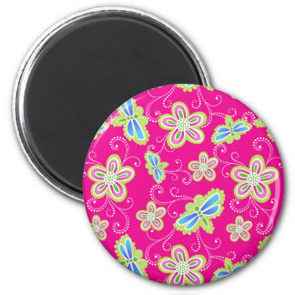 Cute flowers, dragonflies and swirls on pink magnet